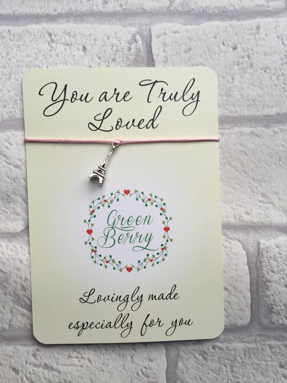 """Eiffel Tower Charm String Bracelet on """"you are truly loved"""" quote card madebygreenberry wish bracelet"""