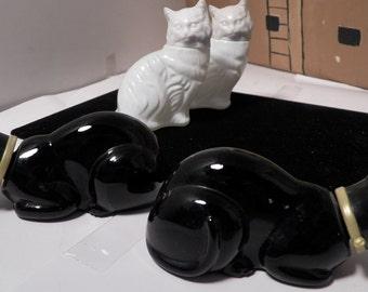 4 Avon Cats set of 4 Collectible Vintage 2 Black 2 White Empty Cotillion