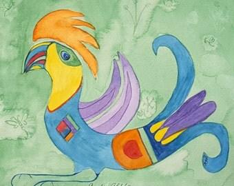 Watercolor Orange Toucan Bird