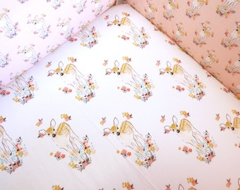 Deer on white Baby Crib Fitted Sheet, Deer, Going Stag, peach, dandelions, bunny , baby, fitted sheet, custom sheet