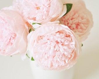 5PCS Silk peonies wedding bridal blush pink bouquets centerpieces faux silk peonies wedding silk flowers pink peony