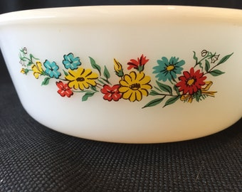 Vintage FireKing Round Casserole Dish  1 1/2 Quart with Spring Flowers in red, yellow, and blue.