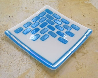 White Fused Glass Plate with Blue Shimmering Geometric Design