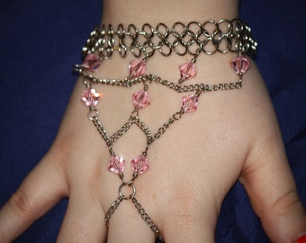 Pink Crystal Chainmail Ring Bracelet