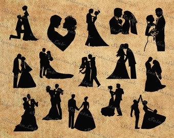 Digital SVG PNG  Lovers, dancers, in love, love, couple, st valentine's day, anniversary, vector, clipart, silhouette, instant download