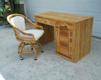 Vintage Mid Century Modern Pencil Reed Desk With Free Chair