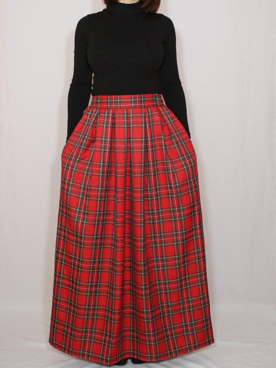 plaid skirt tartan skirt maxi skirt high waisted