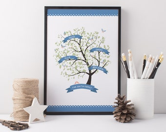 Family Tree Art Print - Personalised Art Print - Family Art - Kitchen Art - Family Tree - Bespoke Family Tree