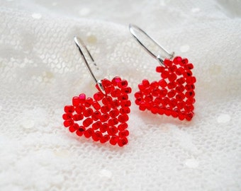 Valentine's Day Gift Heart Earrings Red Jewelry Gift For Her Beaded Earrings Seed Bead Red Earrings Valentine Gift Hearts Valentine Day Gift