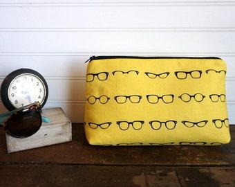 Large Gusset Make Up Bag - Vintage Glasses, Frames in Yellow, Bridesmaid Clutch, Large Make Up Bag, Make up Clutch