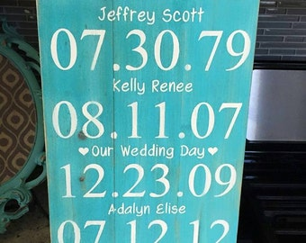 Family Special Dates Wood Sign