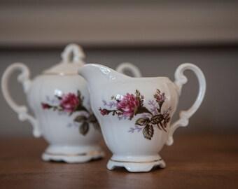 Pink sugar bowl and creamer Vintage flower