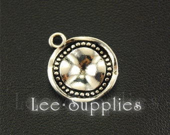 20pcs Antique Silver Round Tags Charms A1564