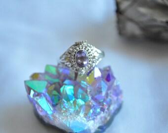 Vintage Sterling Silver Amethyst Poison Ring // Locket Ring // 8 1/2
