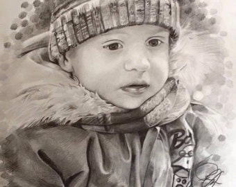 Hand drawn pencil portrait made to order
