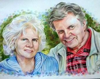 Custom coloured pencil potrait couple