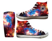 Galaxy Supernova Blue Custom Printed Converse All Stars and Vans
