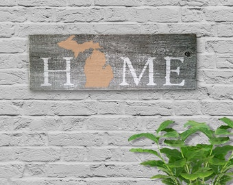 "Hand Painted Barn Wood ""Home Michigan"" Sign"