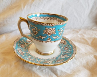 Crown Ellesmere Turquois Demitasse tea cup and saucer