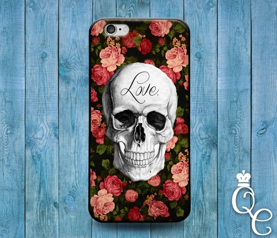iPhone 4 4s 5 5s 5c SE 6 6s 7 plus iPod Touch 4th 5th 6th Generation Cute Love Skull Floral Roses Flower Cover Cool Artistic Phone Case