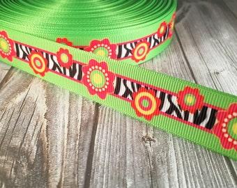 "Funky flower ribbon - Hippie ribbon - Retro ribbon - Zebra stripe ribbon - Fun flower ribbon - 7/8"" Grosgrain ribbon - Hair bow ribbon"