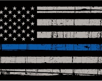 Thin blue line flag, police blue line flag, gadstone police flag,  thin blue line decal, police thin blue line sticker, distressed flag blue