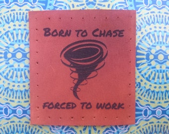 Storm chase tornado leather patch geek gift