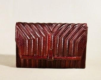 Vintage '70ties Burgundy Snake Skin Leather Bag, Clutch, Handbag, Evening Bag, Enveloppe Bag