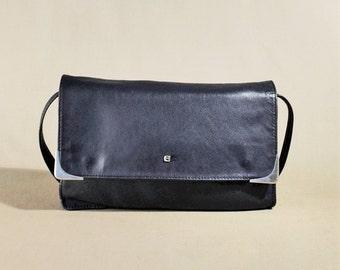 Vintage Erelle Blue Leather Bag, Shoulderbag, Handbag, Office Bag, Lady Bag