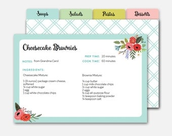 Editable Recipe Card, Recipe Dividers, Printable Recipe Cards, Editable Recipe Cards, Recipe Card Template, Personalized Recipe Card, Recipe