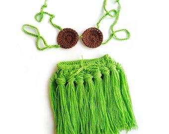Baby hula skirt, baby luau skirt, hawaiian skirt and top for baby, baby luau
