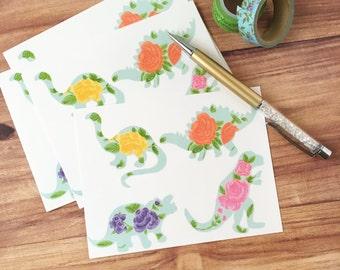 Floral dinosaur postcard set