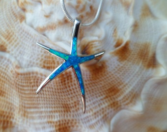 925 Silver Necklace - Blue opal Star Necklace -  Starfish Pendant