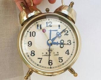 Vintage Alarm Clock Mechanical twin bell desk clock Cute table clock Diamond Manual winding clock Gold home decor Vintage gift idea