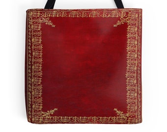 Red and Gilded Gold Book Cover Tote Bag