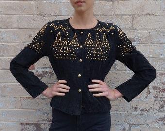 Vintage 80s Suede Leather Gold Studded Jacket