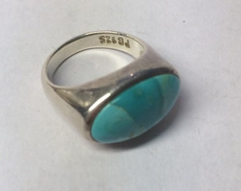 Southwestern style turquoise and sterling silver ring