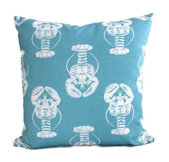 Lobster Pillow Coastal Pillows Blue White Throw Pillow