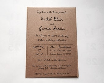 Budget saving rustic wedding invitation - brown kraft invitation - calligraphy wedding invitation  - country wedding- vintage wedding set