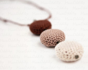 Triple chocolate Crochet necklace Coffee love Pendant Cappuccino color Crochet jewelry Chocolate color Long necklaces Gift for girlfriend
