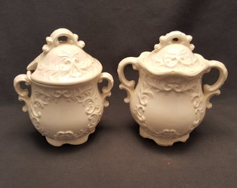 Set of 2 Vintage Sugar Tea Canisters Jars Server