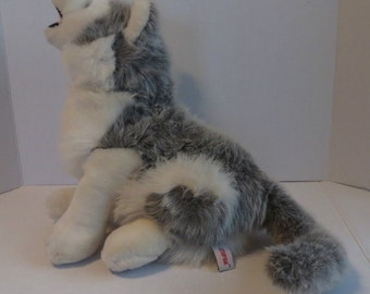"Vintage 1990 UNIPAK Gray Howls When Pressed Wolf Plush Stuffed Animal 14"" high"