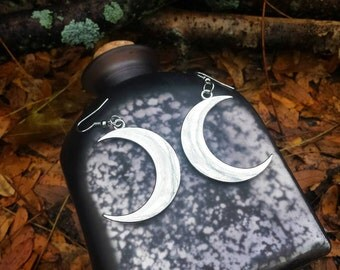 Silver Plated HALF MOON dangle earrings