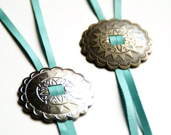 Turquoise Leather Bolo Necklace