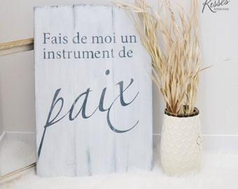 Paix Wood Sign (french)