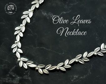 olive leaves silver necklace, olive leaf, silver olive leaf, olive leaf necklace, olive leaves, leaf necklace, silver leaf, greek necklace