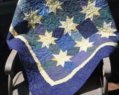 Yellow Stars on Blue Quilt Wallhanging or Lap Quilt 40 1/2 x 40 1/2 Free Shipping