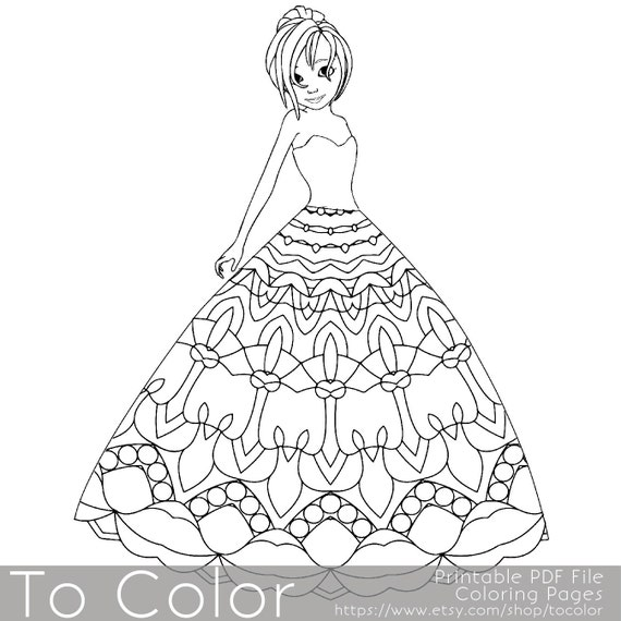 Mandala Princess Coloring Pages for Adults Girl Coloring
