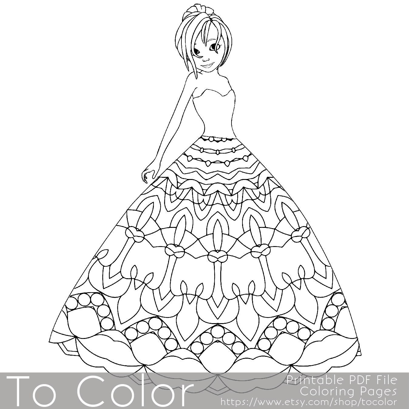 mandala princess coloring pages for adults coloring