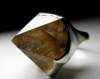 "Rutilated Quartz Silver Ring ""Venus hair"" raw art 2971 | Handmade Jewelry Natural Organic Rare Crystal with Jewelry Report"